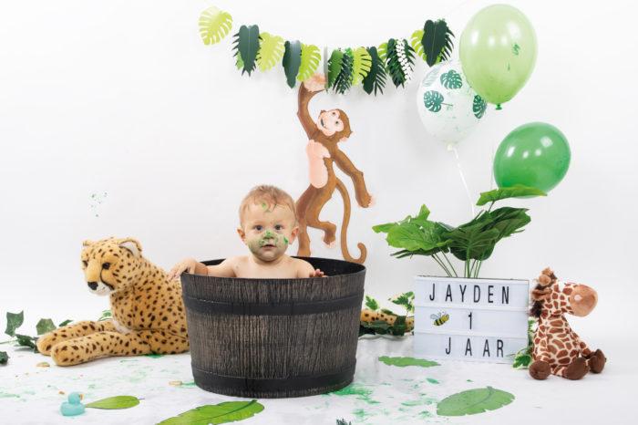 portfolio cakesmash jongetje met ballon en jungle beesten