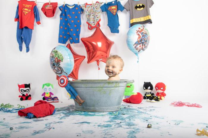 portfolio cakesmash jongetje superhelden bad
